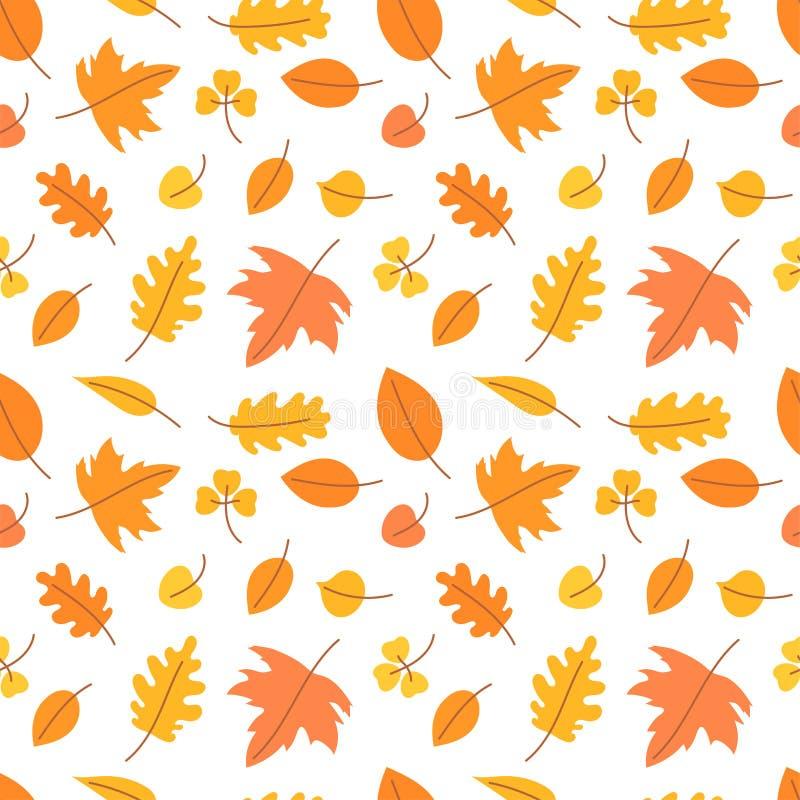 Jesie? li?cie bezszwowy wzoru Wektorowy koloru żółtego i pomarańcze liść Scrapbook, prezenta opakunkowy papier, tkaniny Cze??, Pa ilustracja wektor