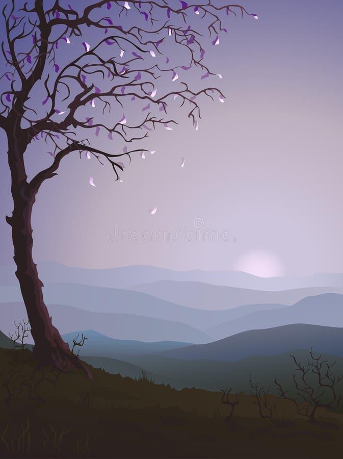 jesienią śliwkowy drzewo ilustracji