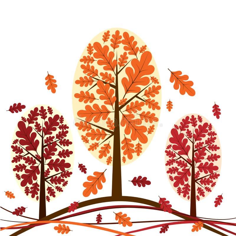 jesienią drzewa tła wektora ilustracji
