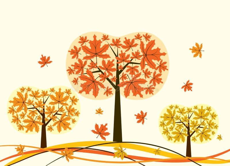 jesienią drzewa tła wektora ilustracja wektor
