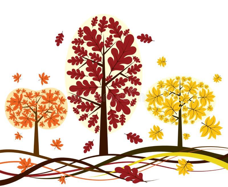jesienią drzewa tła wektora royalty ilustracja