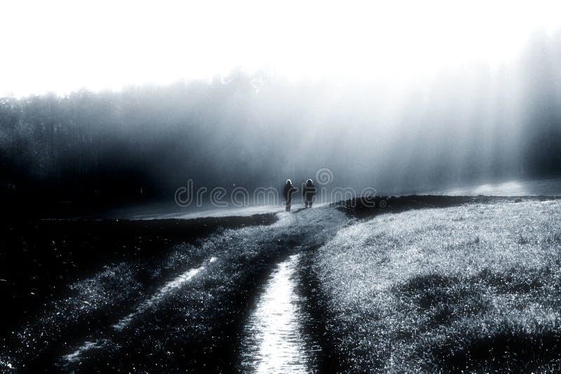 jesienią mgły spacer rzutu zdjęcia royalty free