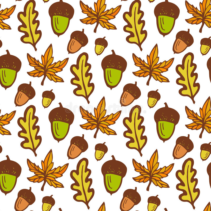 jesienią zbliżenie kolor tła ivy pomarańczową czerwień liści Bezszwowy wzór z acorns i klonem, dębów liście ręka patroszony wekto royalty ilustracja