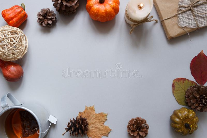 jesienią zbliżenie kolor tła ivy pomarańczową czerwień liści Filiżanka herbata i jesieni dekoracja na szarym tle kosmos kopii obraz stock