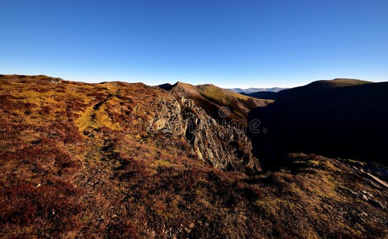 Jesieni światło słoneczne na Gasgale Crags fotografia stock