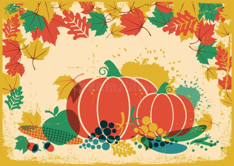 Jesieni żniwa festiwalu rocznika ilustracja Dziękczynienie jesień ilustracji