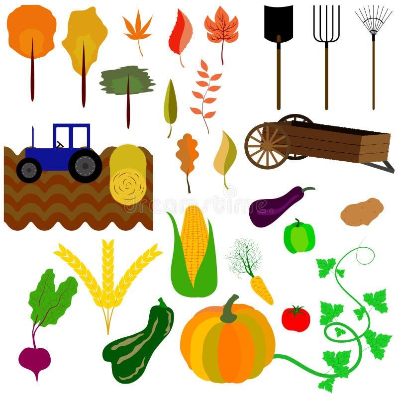 Jesieni żniwo, śródpolna praca i yellowing liście na drzewach, ilustracji