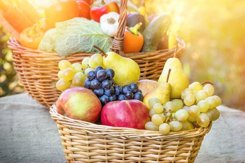 Jesieni żniwo - świeży organicznie owoc i warzywo zdjęcia stock