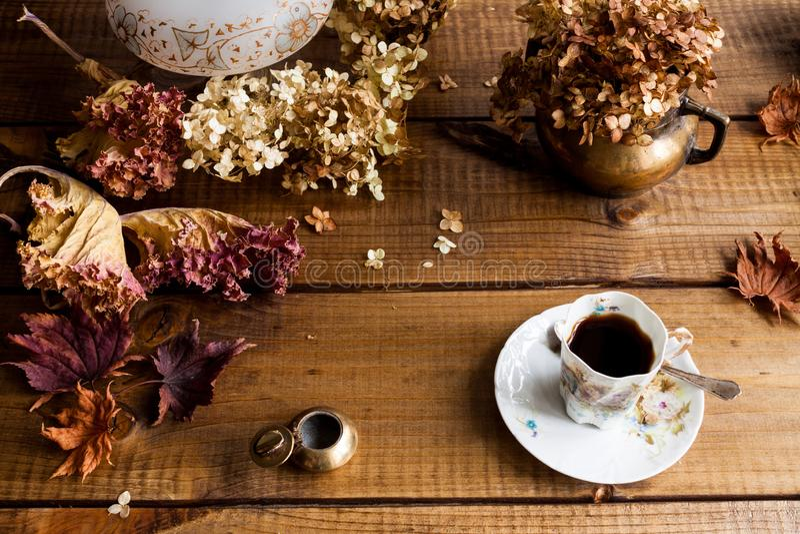 Jesieni życie z wysuszonymi liśćmi wciąż kończy kwiaty fotografia stock