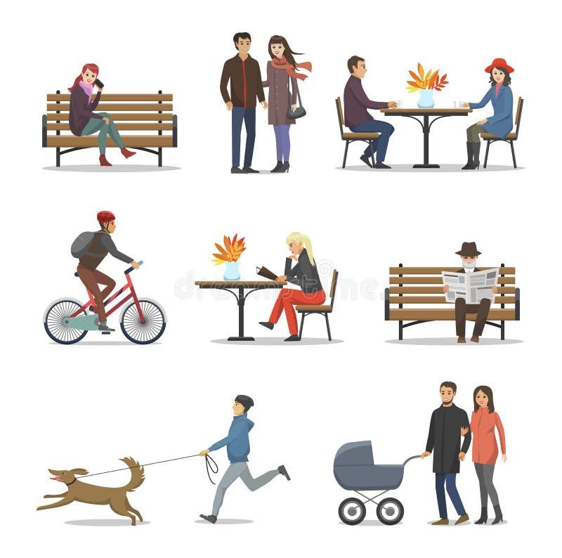 Jesieni aktywność ludzie, Jesienny Ustalony wektor royalty ilustracja
