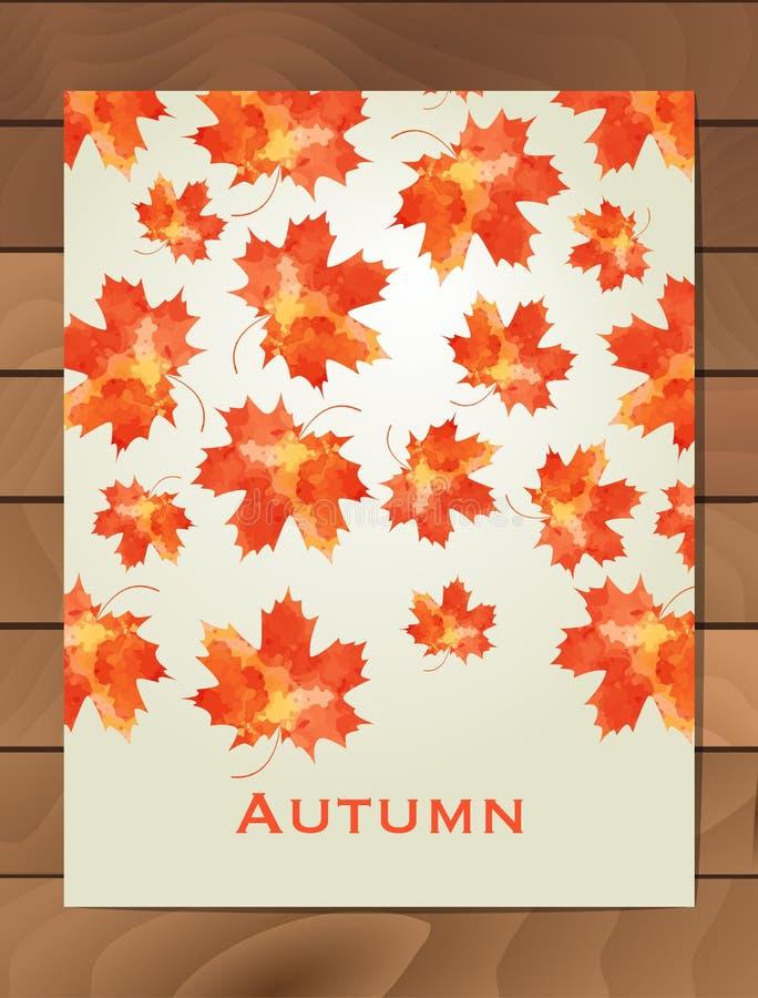 Jesieni akwareli karta Wianek jesień liście Tło z ręka rysującymi jesień liśćmi Spadek liście Nakreślenie, projekta elem royalty ilustracja