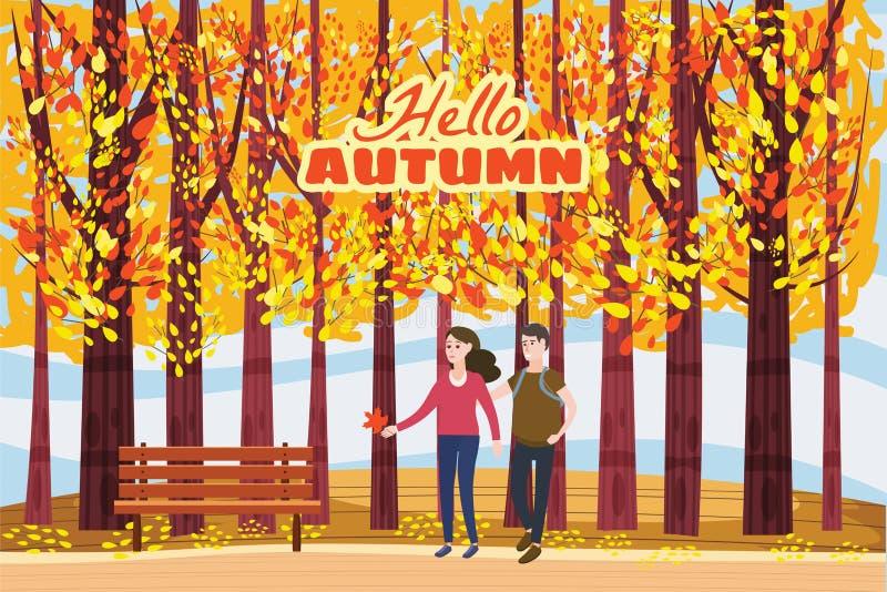 Jesieni aleja, para facet i dziewczyna charaktery chodzi wzdłuż ścieżki w parku, spadek, jesień liście, nastrój, kolor ilustracja wektor