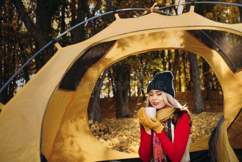 Jesieni campingowej damy napoju natury parka gorący drzewa obrazy stock