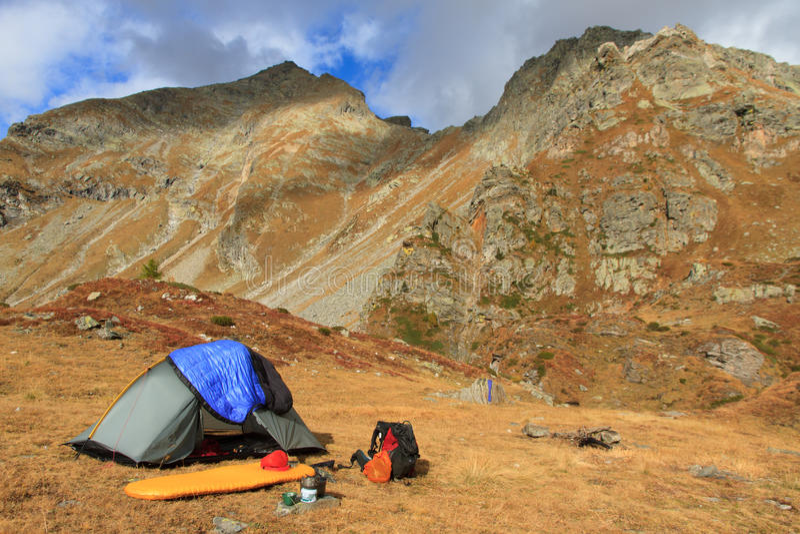 Jesieni campsite obraz royalty free