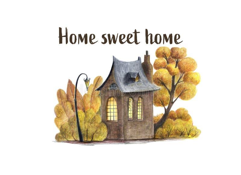 Jesieni domy i ltrees ilustracyjni ilustracji