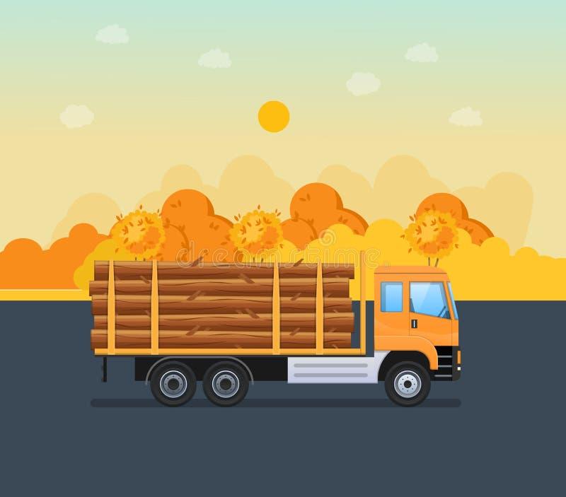 Jesieni droga, transportów drewniani materiały na maszynie dla dalszy przerobu ilustracji