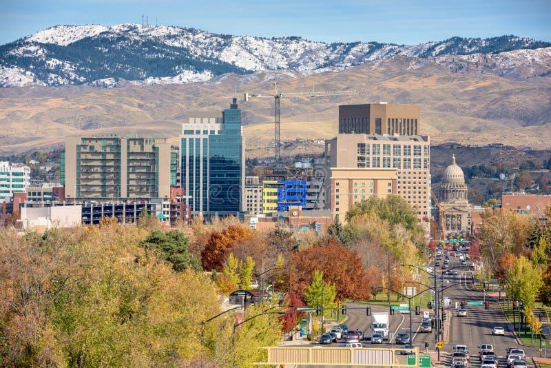 Jesieni drzewa i Boise Idaho linia horyzontu zdjęcie royalty free
