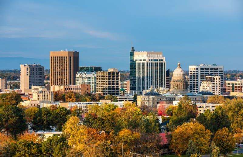 Jesieni drzewa i linia horyzontu Boise Idaho obrazy stock