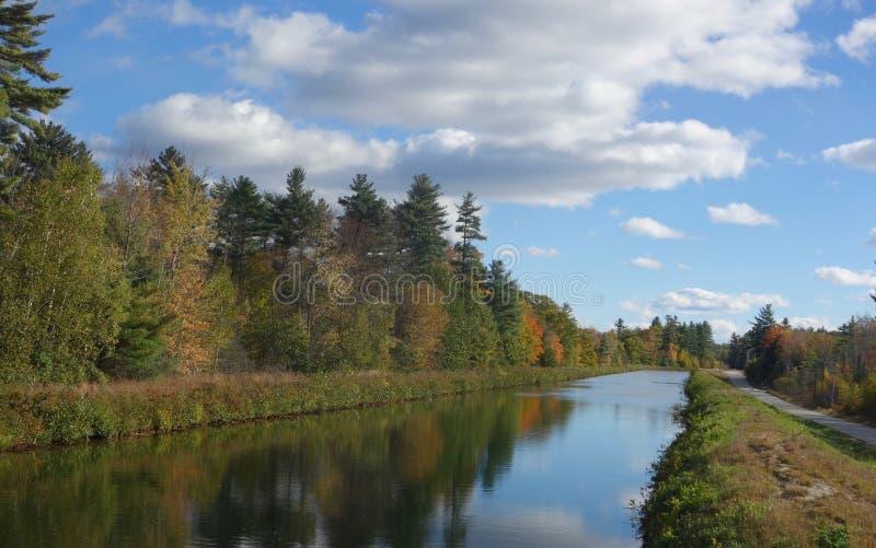 Jesieni drzewa odbijali w kanał wodzie w Maine usa fotografia royalty free