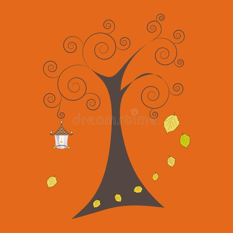 Jesieni drzewo z spada liśćmi i starą lampą, wektorowy illustratio ilustracji