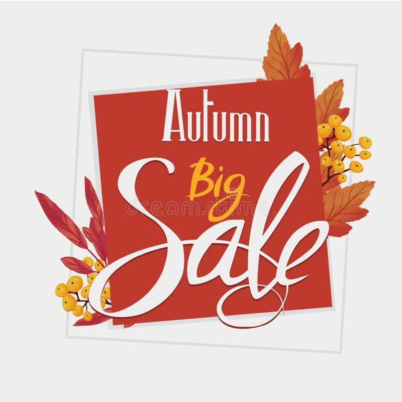 Jesieni duża sprzedaż, ulotka, sztandar, plakatowy szablon zdjęcie stock