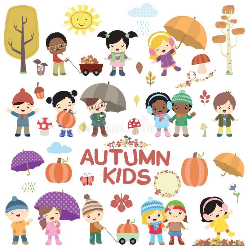 Jesieni dzieci wektoru set ilustracji