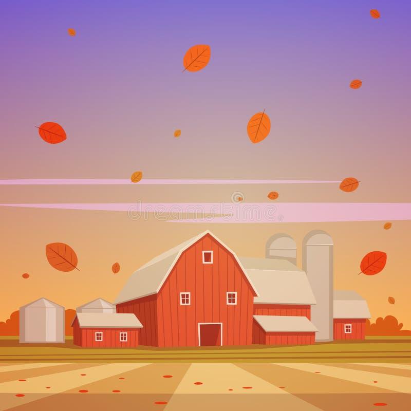 Jesieni gospodarstwa rolnego krajobraz royalty ilustracja