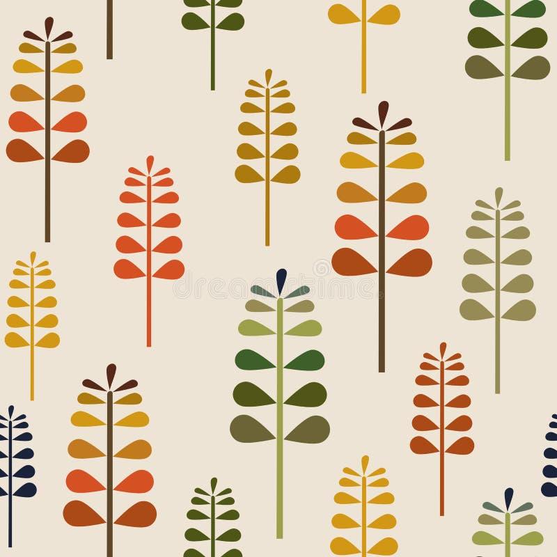 Jesieni Herbalism Bezszwowy wzór, spadku tła powtórki Lasowy Podłogowy wzór dla tekstylnego projekta, tkanina druk, moda lub back royalty ilustracja