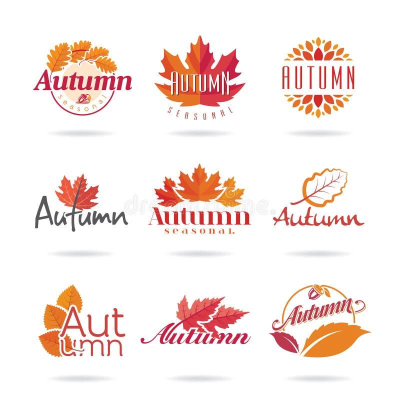 Jesieni ikony set royalty ilustracja