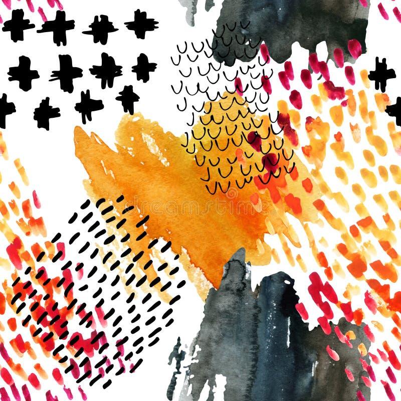 Jesieni inspirowanej akwareli bezszwowy wzór ilustracja wektor