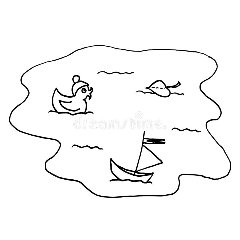 Jesieni ka?u?a Monochromatyczny nakreślenie, ręka rysunek Czarny kontur na bia?ym tle r?wnie? zwr?ci? corel ilustracji wektora royalty ilustracja