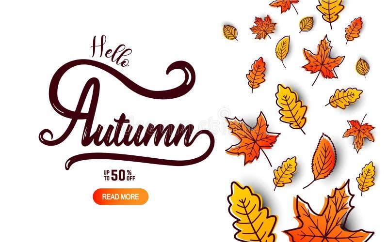 Jesieni kaligrafii sztandar ilustracji