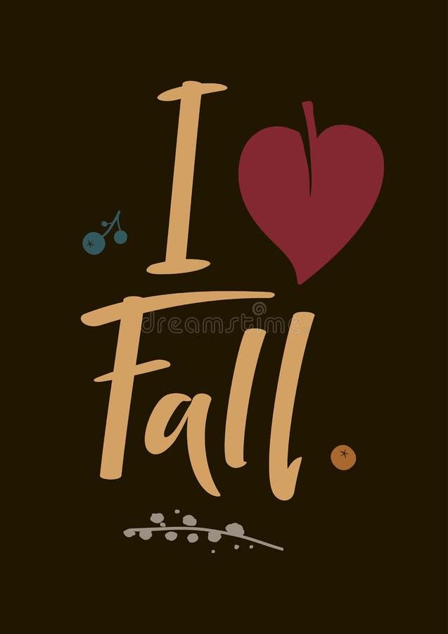 Jesieni karta kocham spadek ilustracja wektor