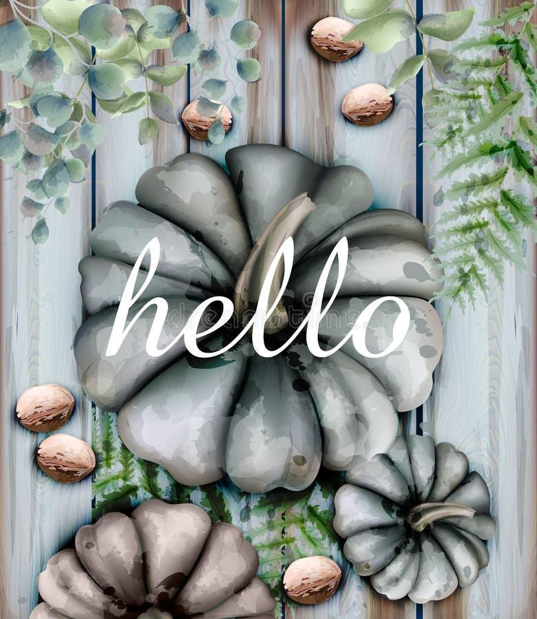 Jesieni karta z bani akwareli stylu wystroju Wektorową miękką częścią barwi ilustracja wektor
