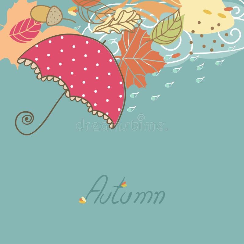 Jesieni karta z parasolem royalty ilustracja