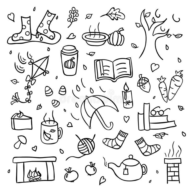 Jesieni kolekcja spadek rzeczy meandruje rysunek odizolowywającego set i pada ilustracja wektor