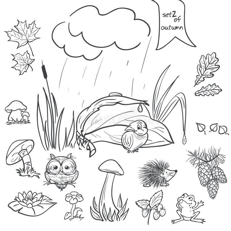 Jesieni kolekcja z wizerunkami ptaki, zwierzęta, grzyby, kwiaty, konusuje dla dzieciaków w czerń konturze 2 wyznaczonym przez orn royalty ilustracja