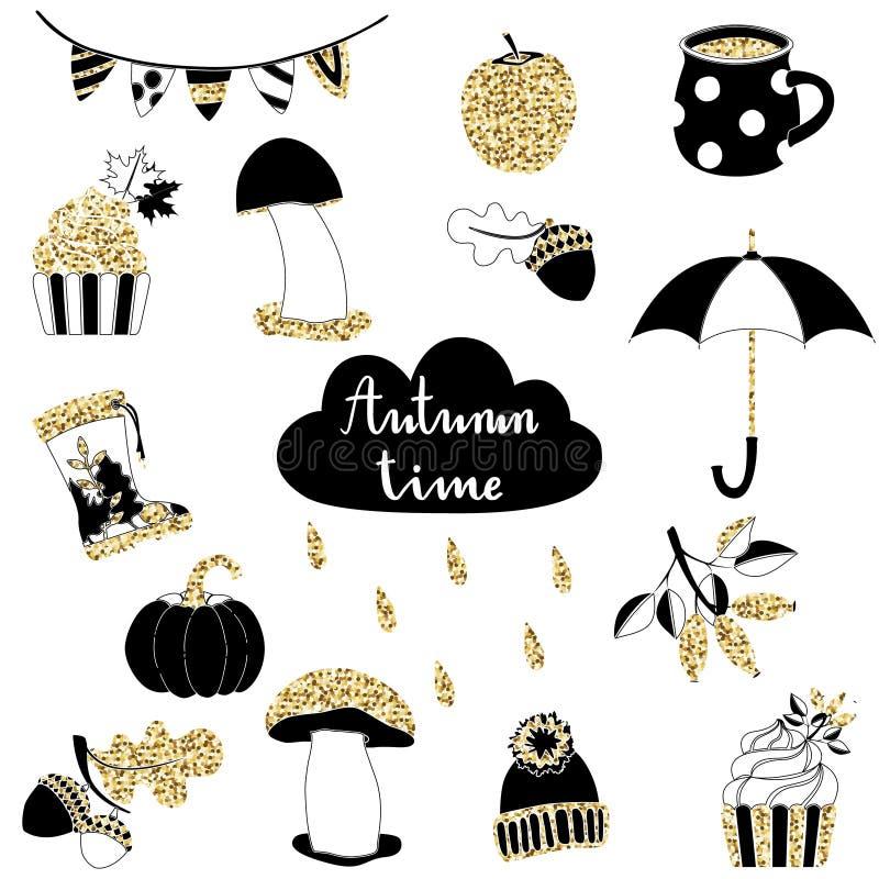 Jesieni kreskówki rośliny, jedzenie i rzecz złocisty połyskuje set, ilustracja wektor