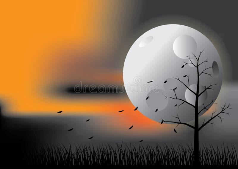 Jesieni księżyc noc royalty ilustracja