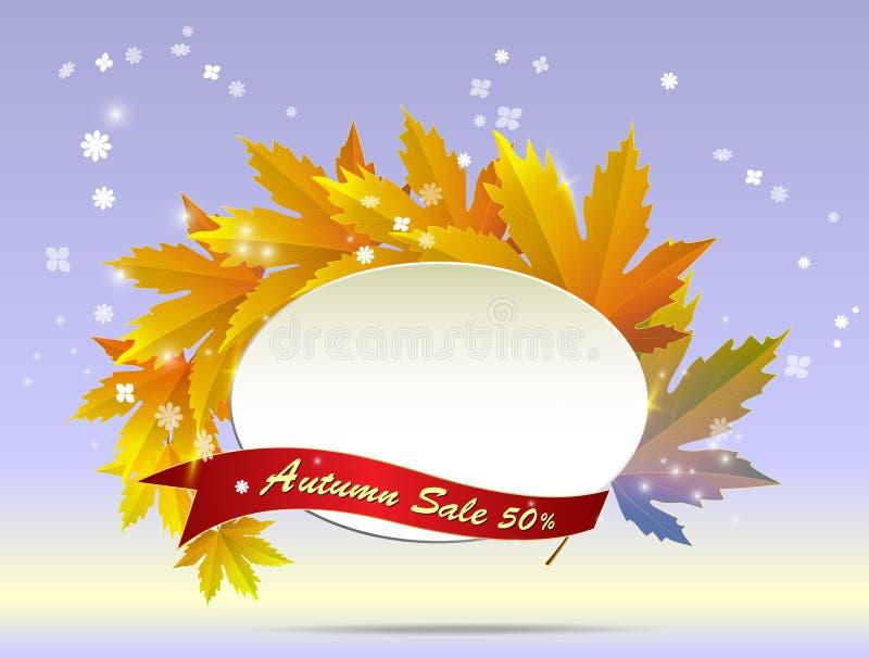 Jesieni kwiecistego papierowego round ramowi i kolorowi drzewni liście na swee ilustracji