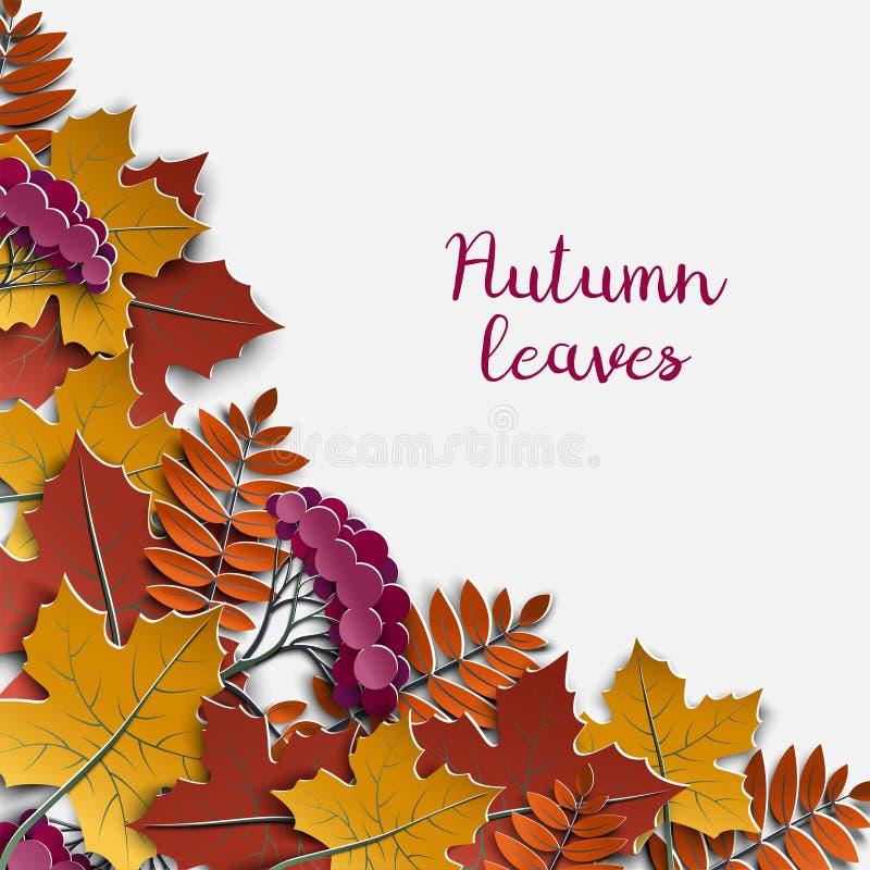 Jesieni kwiecisty papierowy tło z kolorowym drzewem opuszcza na białym tle, projektów elementy dla sezonu jesiennego sztandaru, p royalty ilustracja
