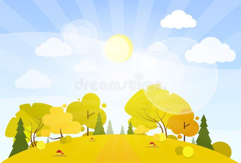 Jesieni lasowej drogi drzewa krajobrazowi halni drewna ilustracji