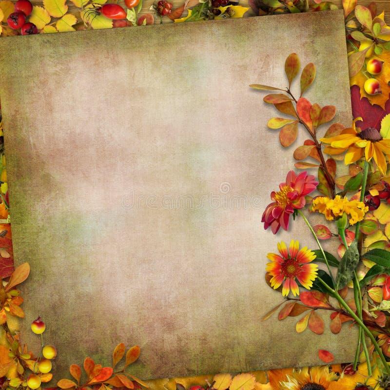 Jesieni liście, kwiaty i jagody na rocznika tle, zdjęcia royalty free