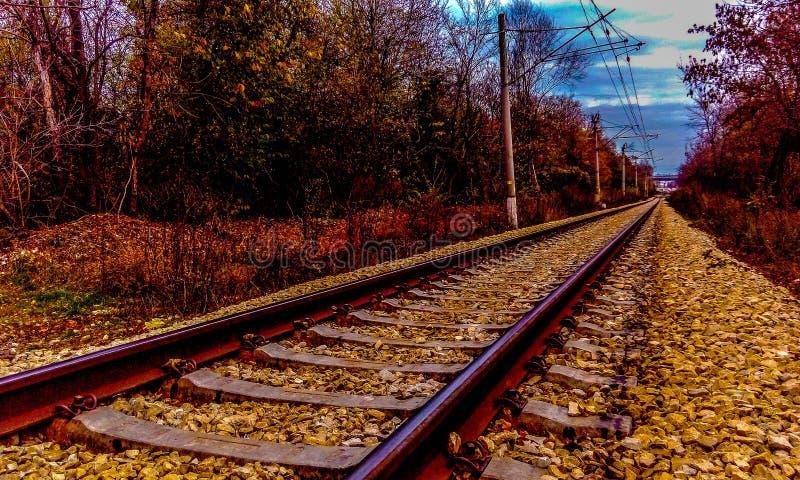 Jesieni linia kolejowa obrazy royalty free