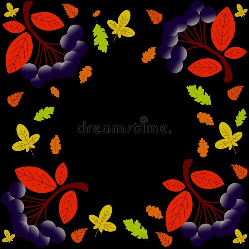 Jesieni literowanie Wręcza patroszonego kaligrafii literowanie odizolowywającego na ciemnym tle ilustracja wektor
