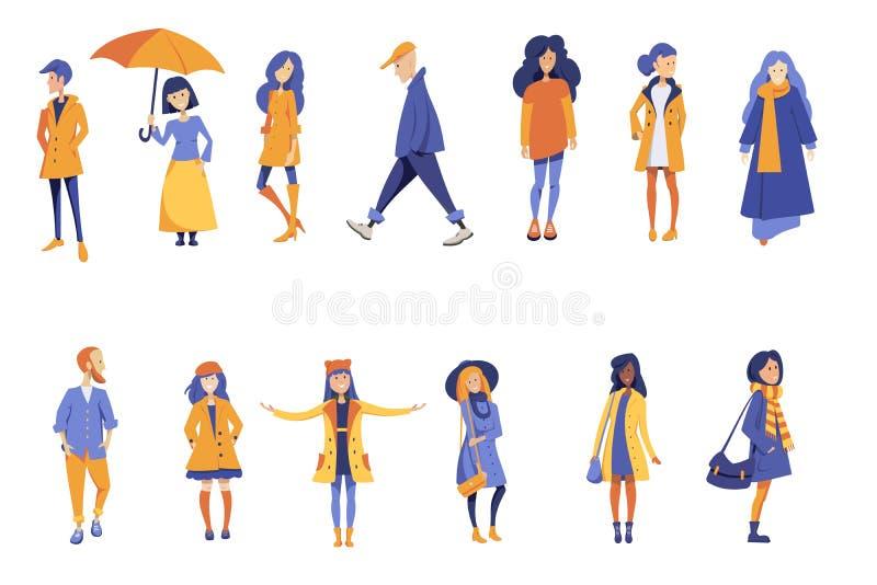 Jesieni ludzie Set ilustracji