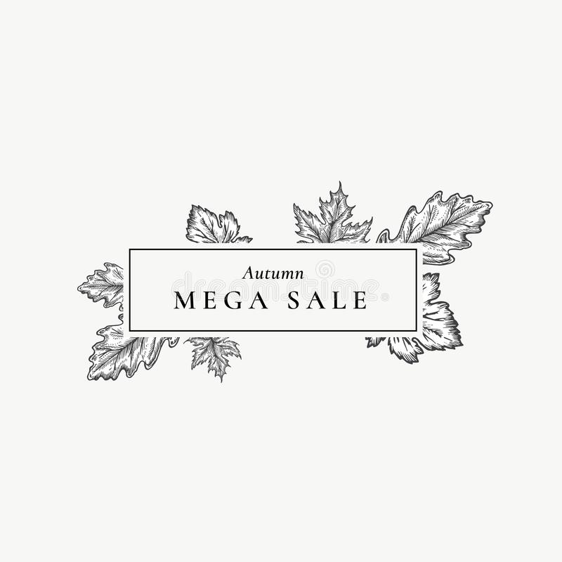 Jesieni Mega sprzedaż Abstrakcjonistyczny Wektorowy Retro etykietki, znaka lub karty szablon, Ręka Rysująca Klonowa i Dębowa liśc royalty ilustracja
