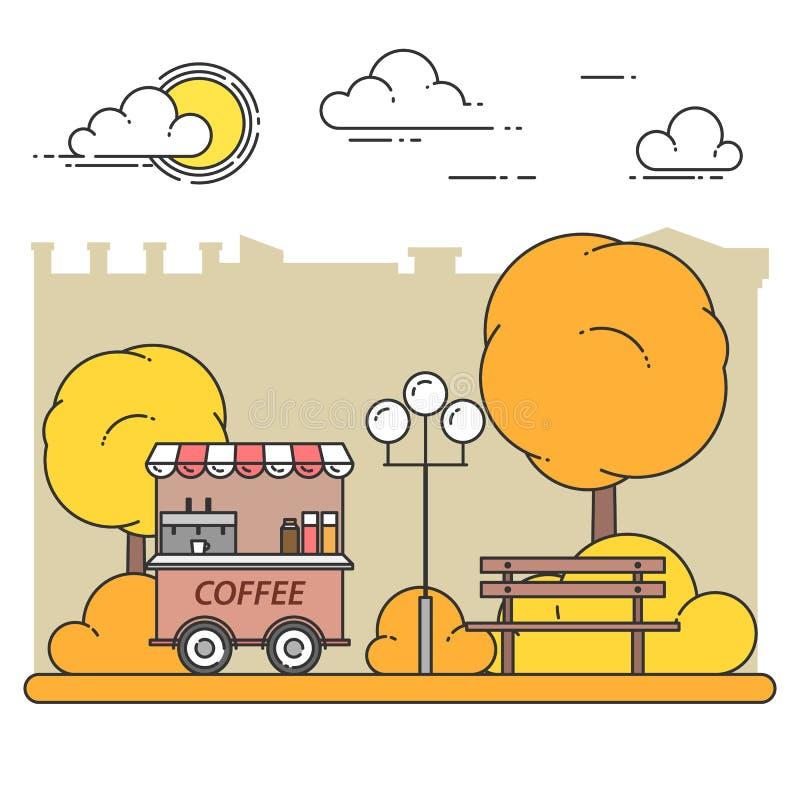 Jesieni miasta krajobraz z ławką, kawy ciężarówka w centrala parku również zwrócić corel ilustracji wektora Kreskowa sztuka ilustracji