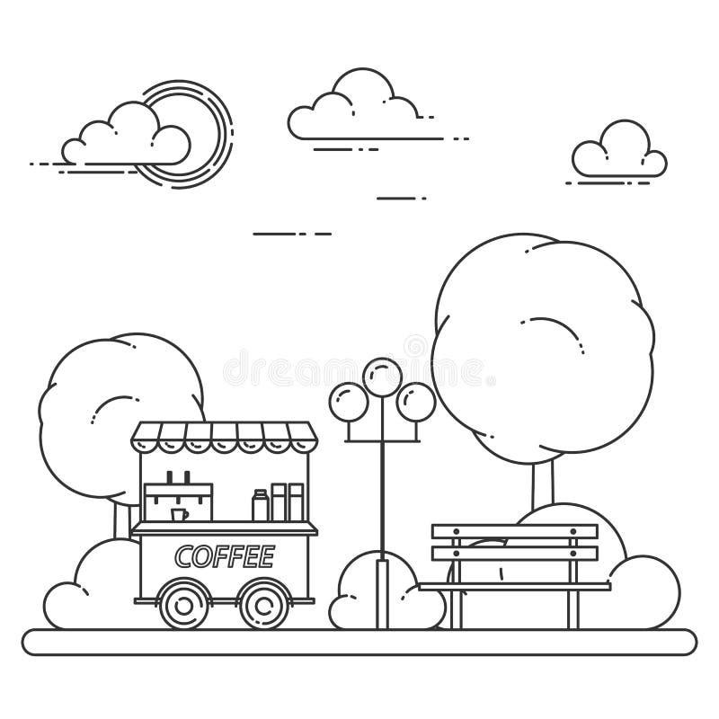 Jesieni miasta krajobraz z ławką, kawy ciężarówka w centrala parku również zwrócić corel ilustracji wektora Kreskowa sztuka royalty ilustracja