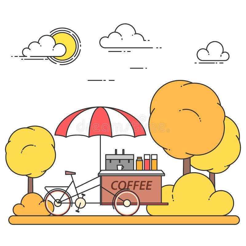 Jesieni miasta krajobraz z kawowym bicyklem w centrala parku Vecto ilustracji